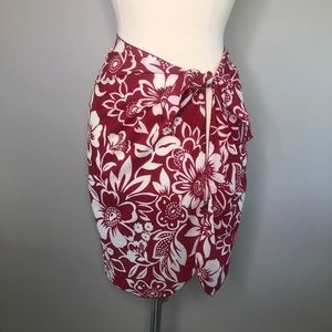 Christina red & white floral sarong, size 2X